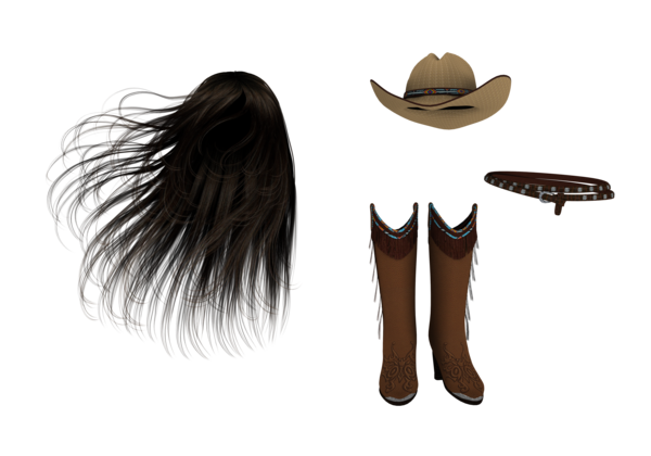 Flying hair png. Long boots hat belt