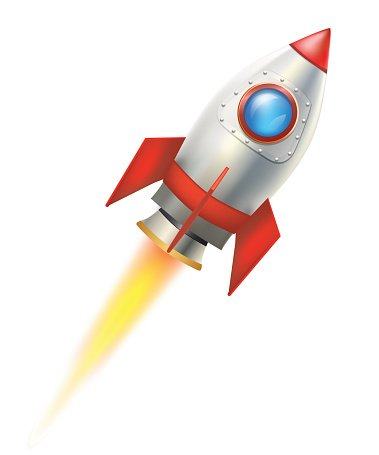 Flying rocket. Stock vectors clipart me