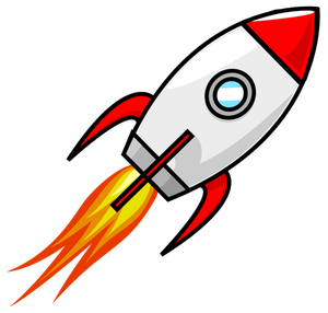 Flying rocket. Launch clip art