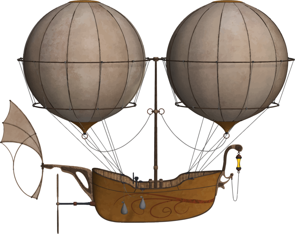 Flying vector hot air. Flight airship balloon free