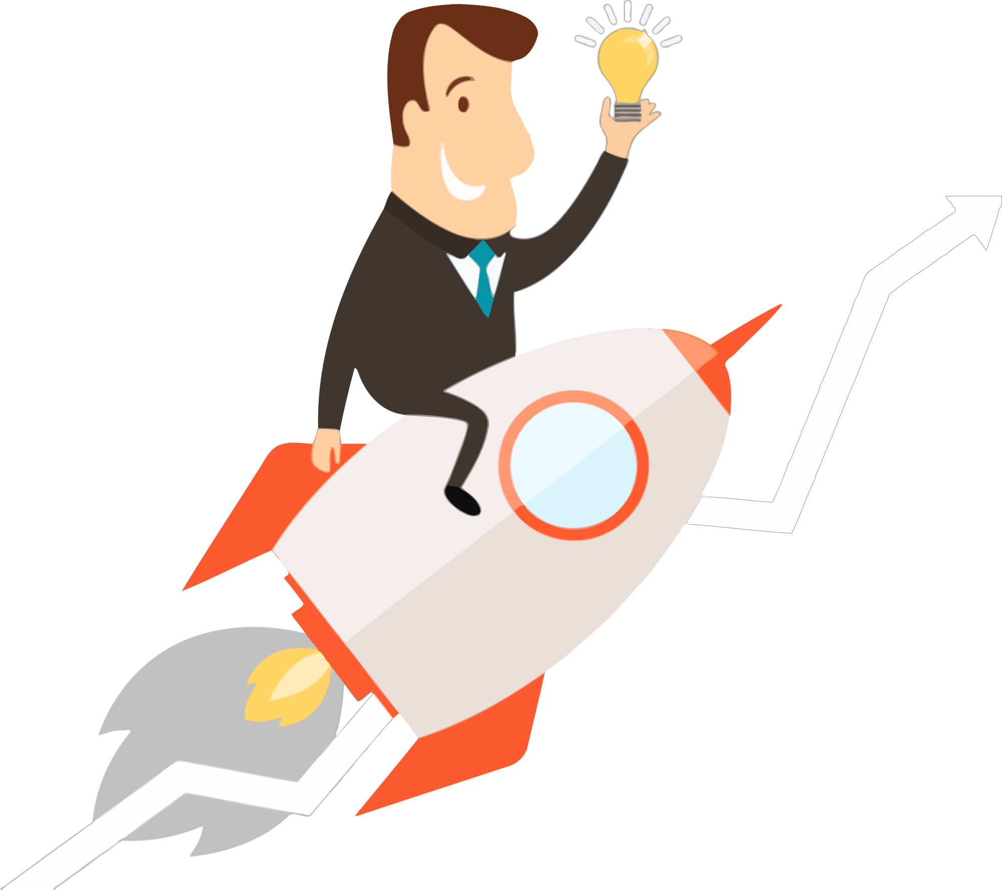 Flying rocket. Free man a clipart
