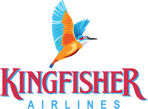 Flying vector kingfisher. Airlines logo eps free