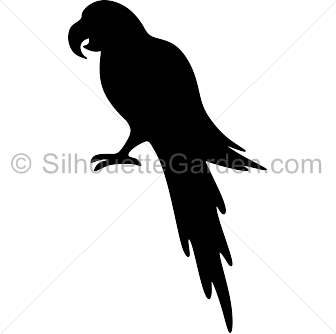 Flying vector parrot. Silhouette clip art download