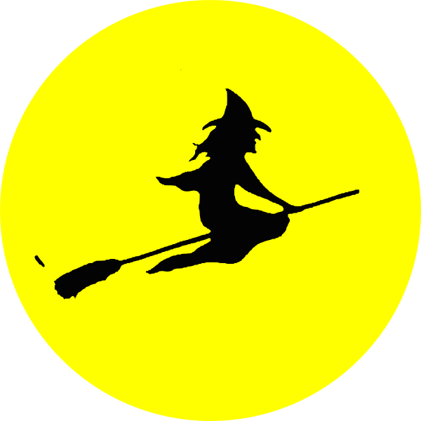 Flying vector person. Free witch silhouette download