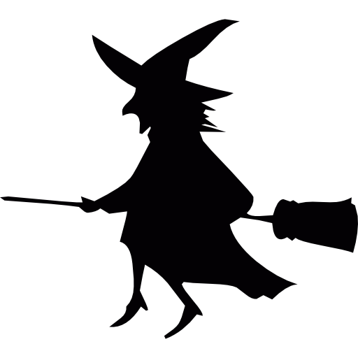 Flying witch silhouette png. On a broom free