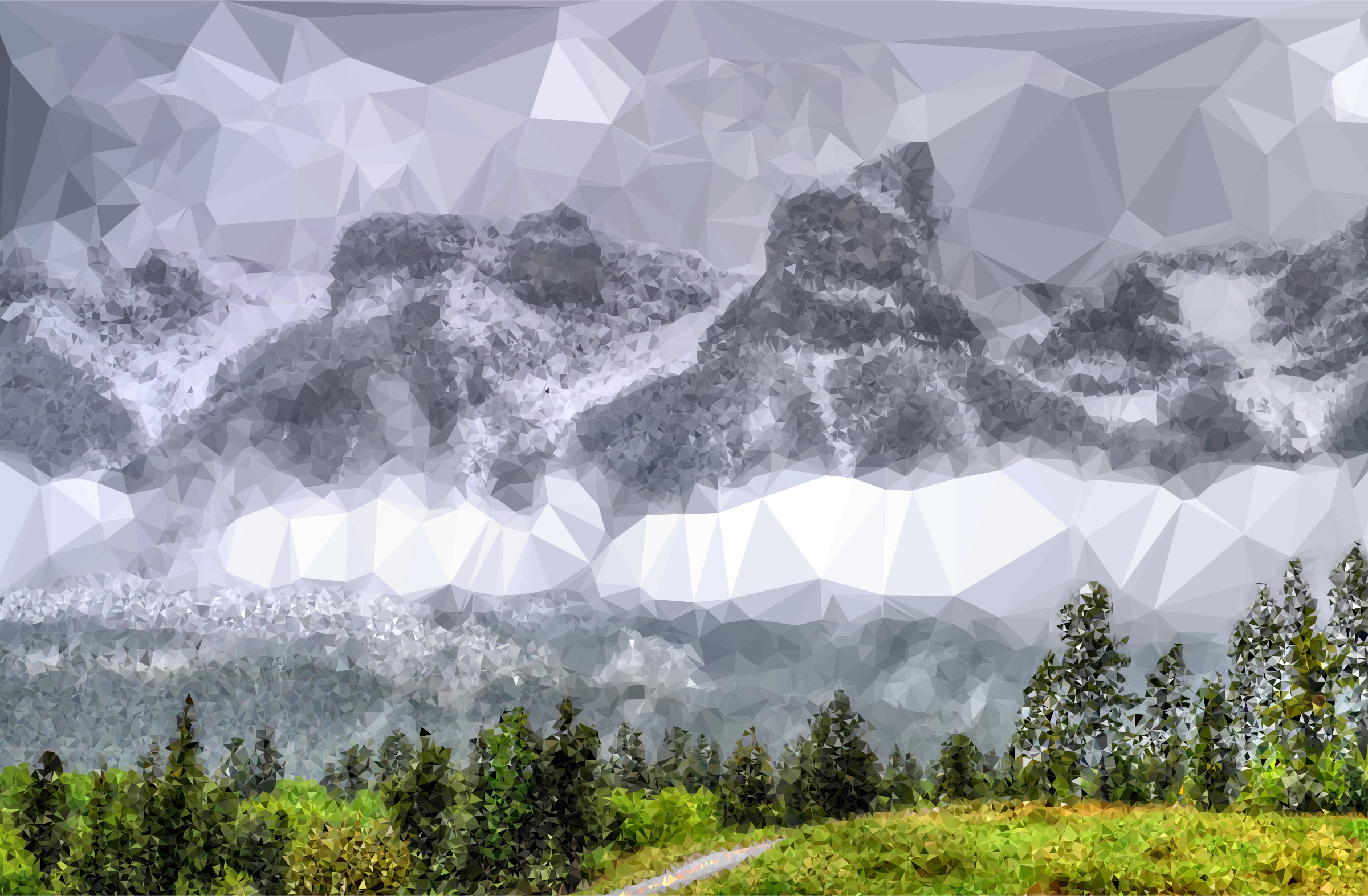 Fog clipart. Low poly enshrouded mountains