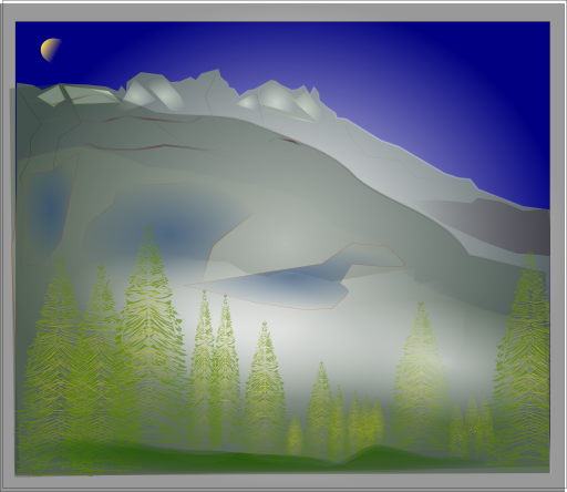 Fog clipart wind. Between forest and peaks