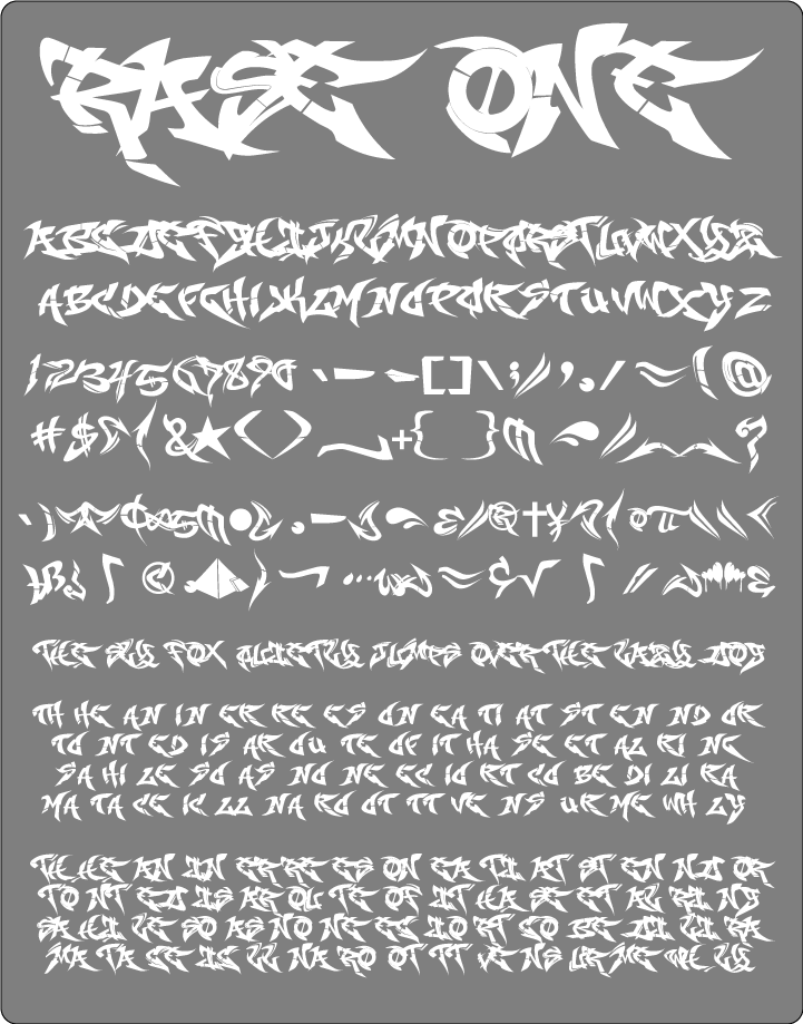 Fonts drawing graffiti. Raseone font information family