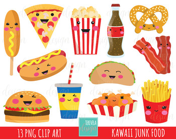Food clipart junk food. Sale fast kawaii