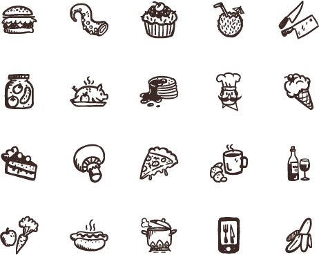 Tasty hand drawn food. Drawing icons transparent background graphic free stock