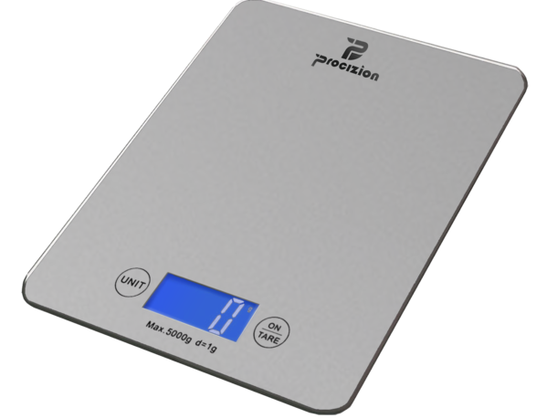 Transparent scales food. Digital kitchen scale for