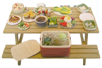 Picnic food png. On table image