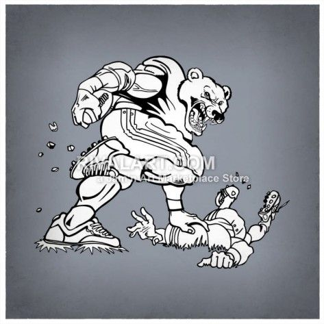 Football clipart bear. Vector of player pushing