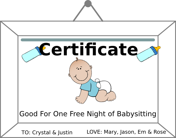 Football clipart certificate. Babysitting coupn clip art