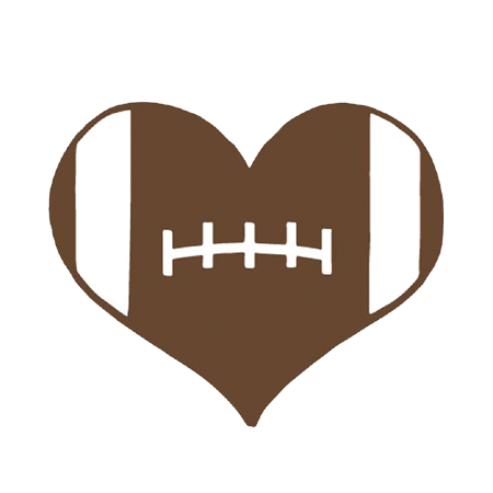 Football heart png. Decal brown white per