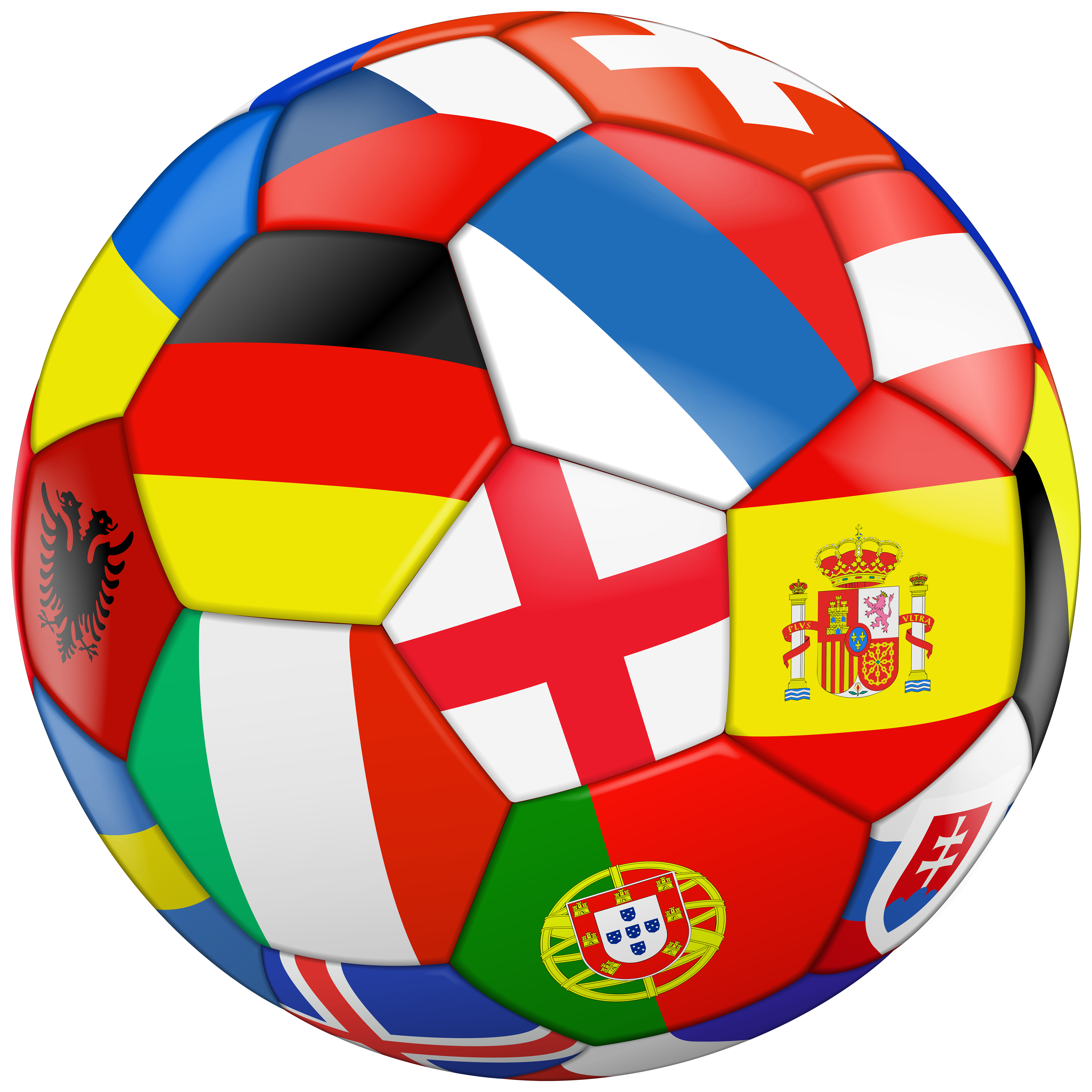 Football image png. With flags transparent clip