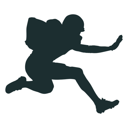 Football player silhouette png. Jumping american transparent svg