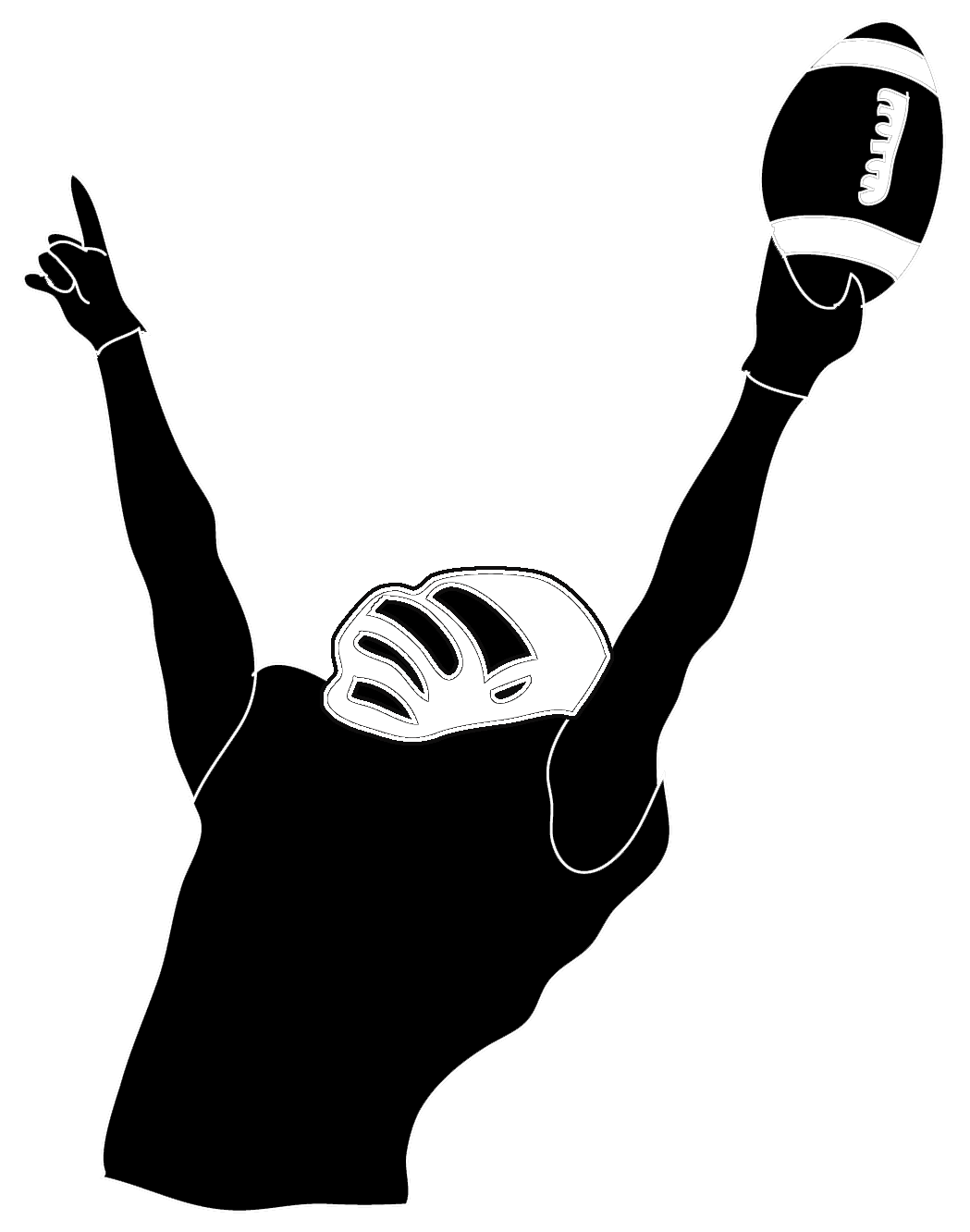 American football player silhouette png. Victory pinterest players victoryfootballplayer
