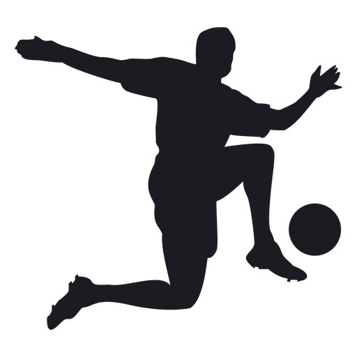 Footballer vector soccer man. Paying football silhouette transparent