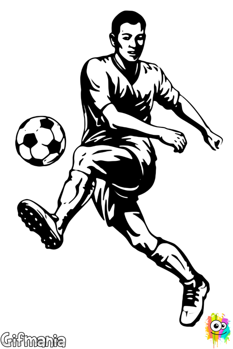 Footballer drawing. Soccer player footballplayer arts