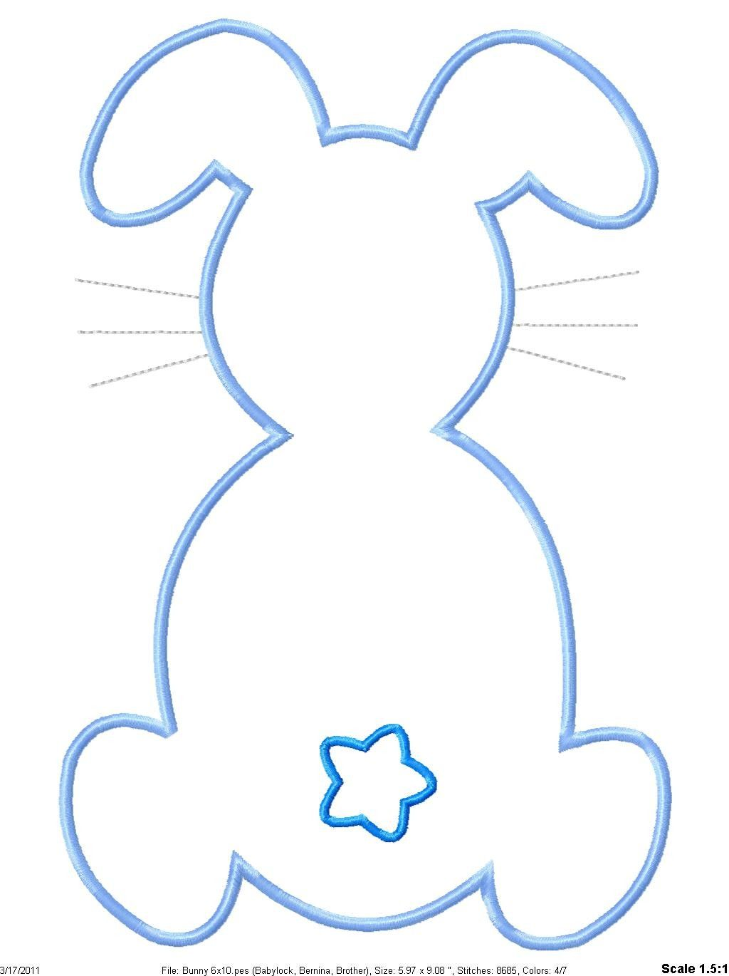 Footprint clipart easter bunny. Outline machine embroidery applique