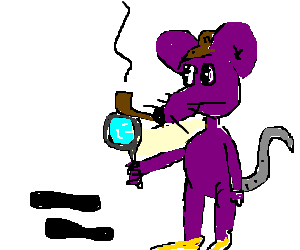Footprints drawing detective. Purple mouse finds foot