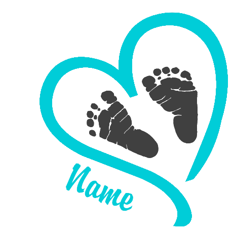 Footprints svg grey baby. Heart blue personalized shirt
