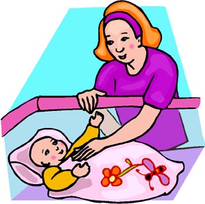 For her clipart drawing. Mother with baby at