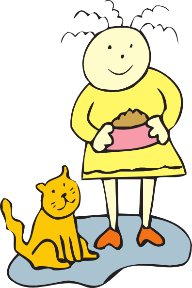Cats clipart water. Girl feeding her cat