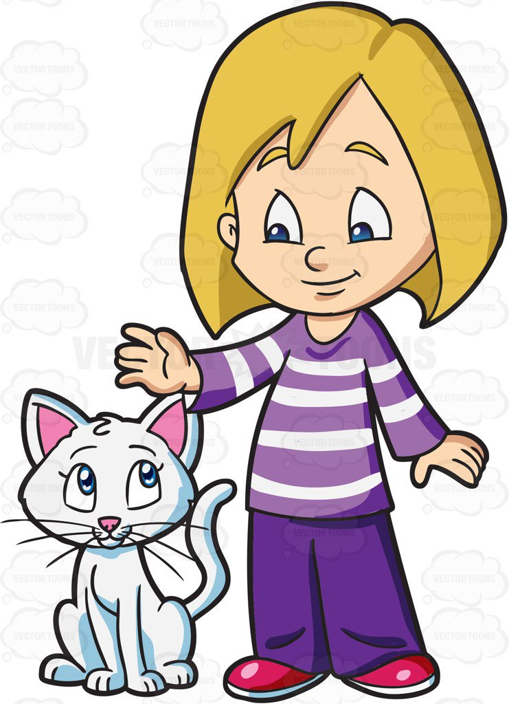 Kid clipart cat. A girl caring for clipart transparent