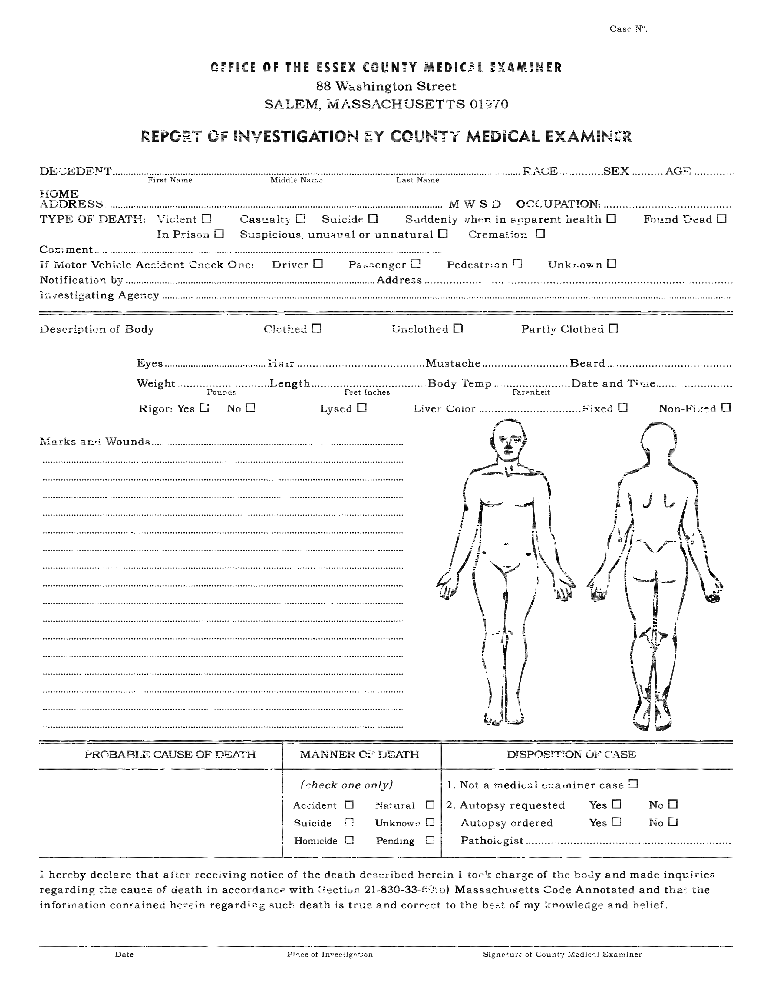 Forensic drawing autopsy. Detective case file template