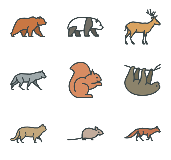 Forest animals png. Icon packs vector