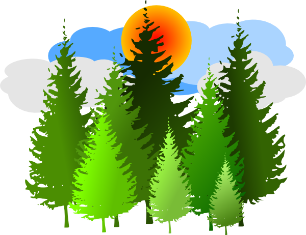 Trees . Forest clipart jpg black and white library