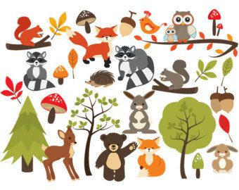 Forest clipart cute. Woodland clip art whimsical