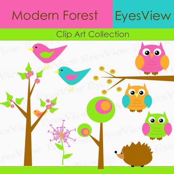 Forest clipart cute. Clip art modern brights