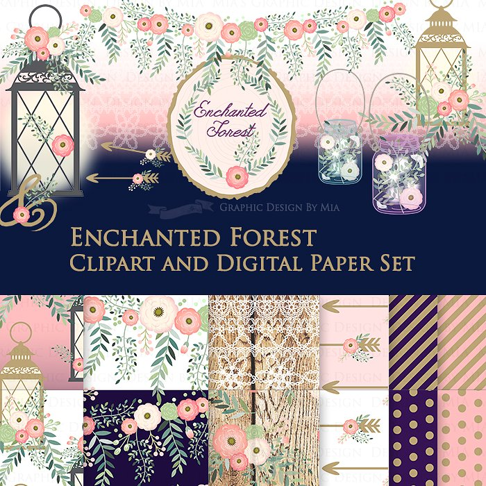 Forest clipart enchanted forest. Pattern set illustrations creative