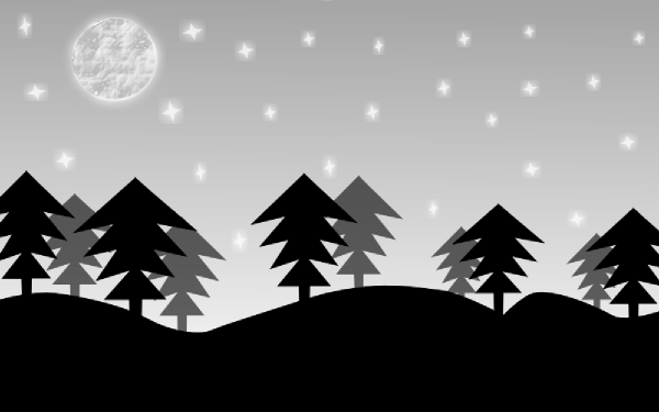 Night clip art at. Forest clipart forest scene graphic black and white