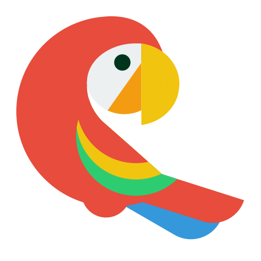 Vector parrot red. Clipart icons download free