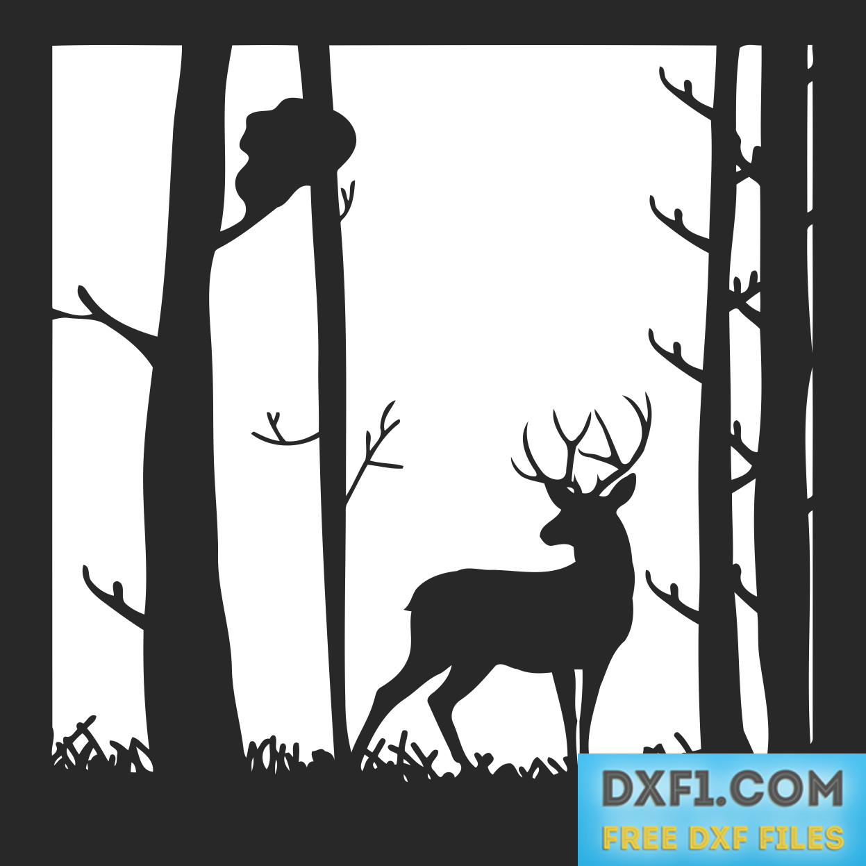 Deer in the landscape. Forest svg silouette svg black and white library