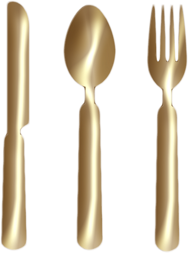 Fork and knife clipart png. Spoon gold by clipartcotttage