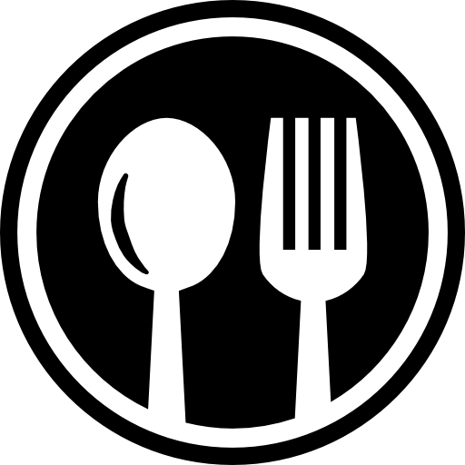 Fork and spoon icon png. Restaurant cutlery circular symbol