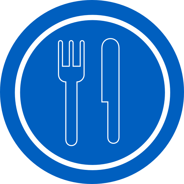 Fork clipart food clipart. Service sign blue plate
