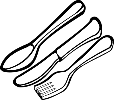 Drawing plate utensil clipart. Free spoon and fork