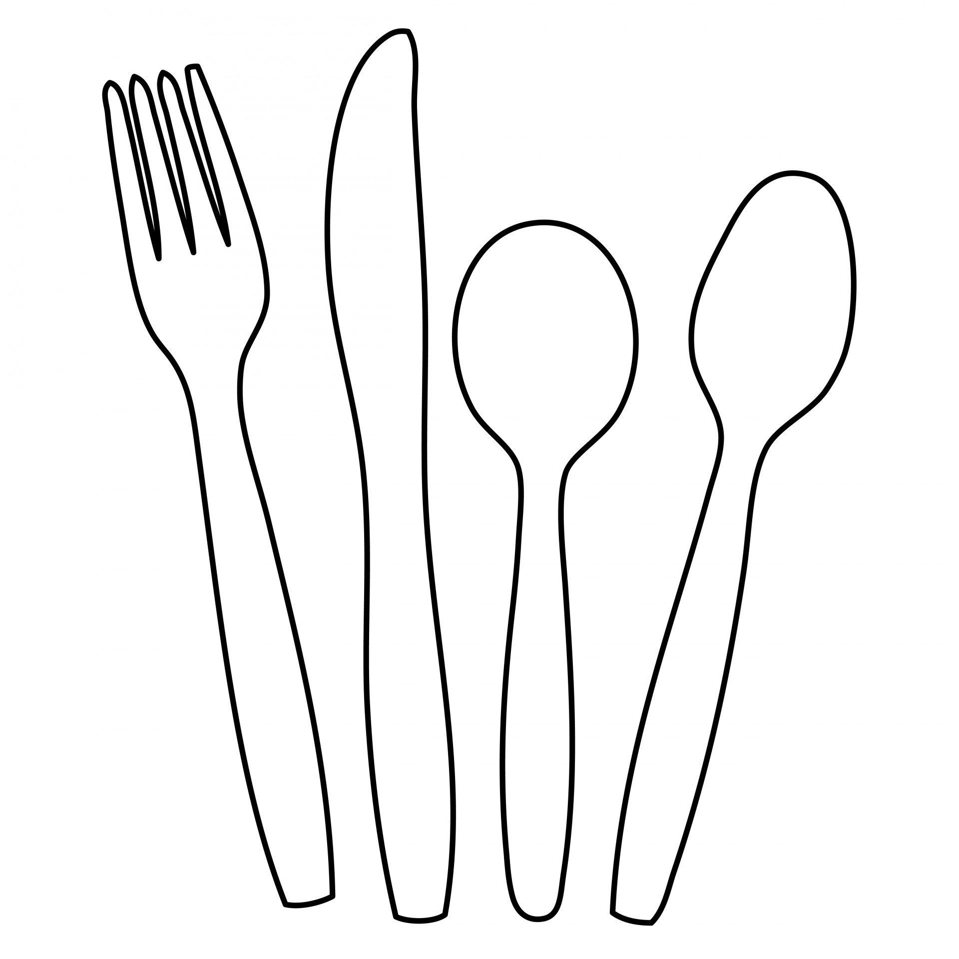 silverware clipart outline