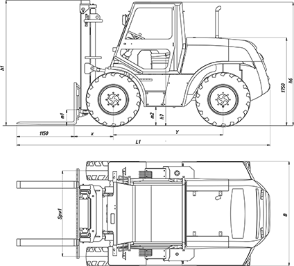 Annotated drawing forklift design. Rough terrain forklifts dr