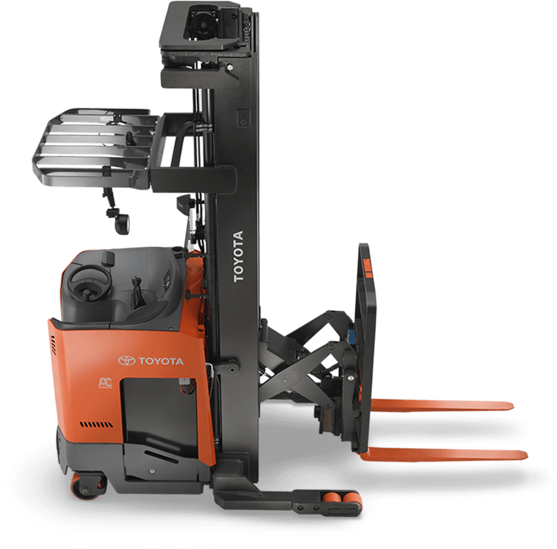 Forklift drawing fork lift. Electric reach truck single