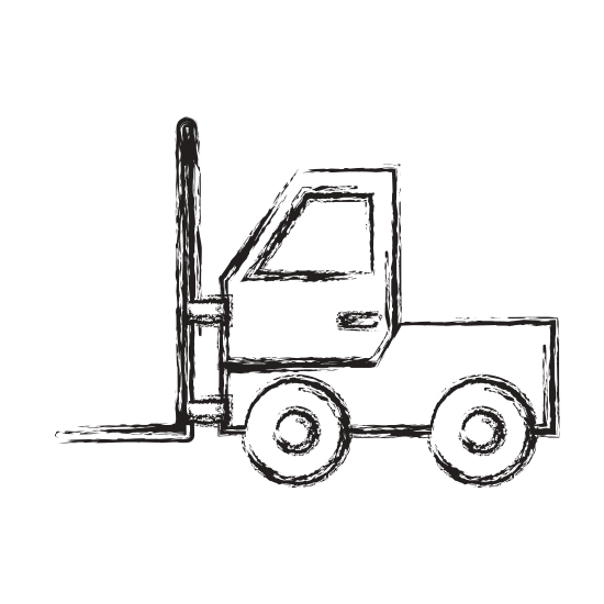 Forklift drawing line. Truck icon icons by