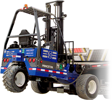 Forklift drawing semi truck. Piggy back home of