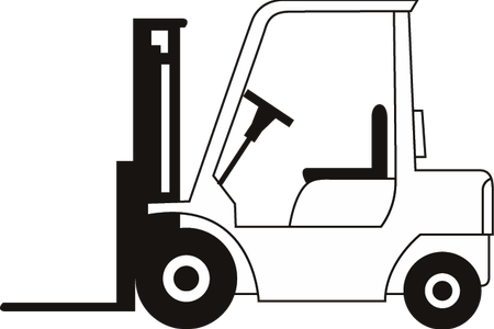 Forklift drawing side view. Download wallpaper clipart full