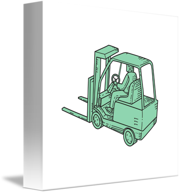 Forklift drawing top view. Truck operator mono line